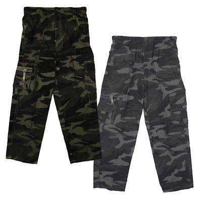 Boys Army Camo Camouflage Combat Zip Pocket Trousers Khaki or Grey 3 to 12 Years