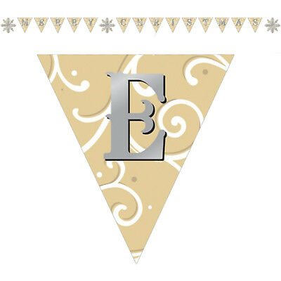 Shimmer Snowflake Merry Christmas Party Pennant Flag Banner Bunting Decoration