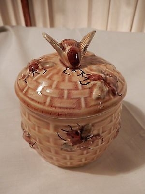 DETAILED Vtg Secia Ceramic Honey Pot Brown Made in Portugal P2705