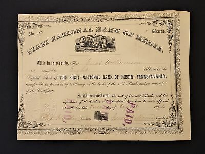 1864 antique FIRST NATIONAL BANK OF MEDIA pa STOCK SHARE CERTIFICATE williamson