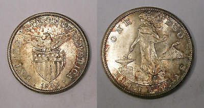 1907-S Philippine Silver Peso Blazing Select Bu Gorgeous Toning Look! Inv#306-24