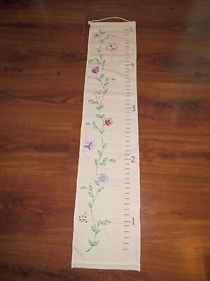 POTTERY BARN Kids Girls Room Hanging Height Chart Pink Flowers Butterfly