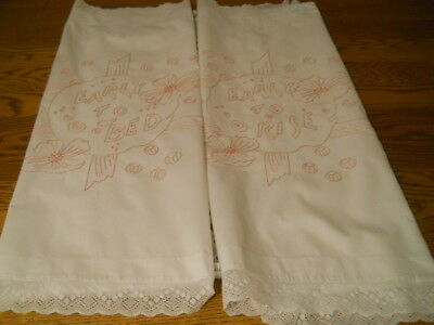 PAIR Antique Redwork Embroidered Pillow Shams Early To Bed Early to Rise