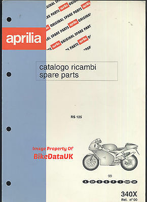Genuine Aprilia RS125 (1999-on) Parts List Book Catalogue Manual RS 125 Sports