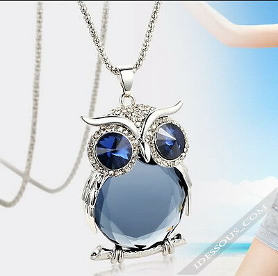 Necklace with Owl Pendant Silver Diamond Zirconia Jewellery Women's Gift