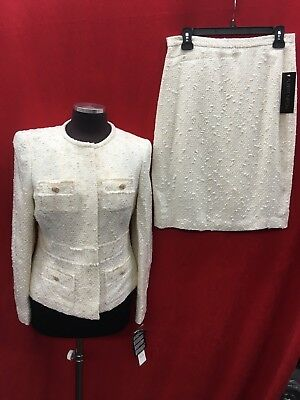 """Albert Nipon Skirt Suit/tweed/ivory/size 16/lined/skirt Length 24""""/new With Tag"""