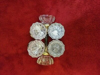 Antique Vintage Round Glass 12 pt Crystal Door Knobs Brass Lot Of 6 One Rod EVC