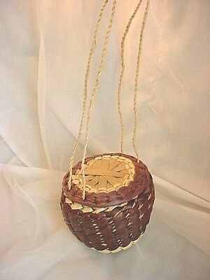 Vtg Basket Purse with Sliding Lid Extra Touch to Renaissance Garb 5 inch