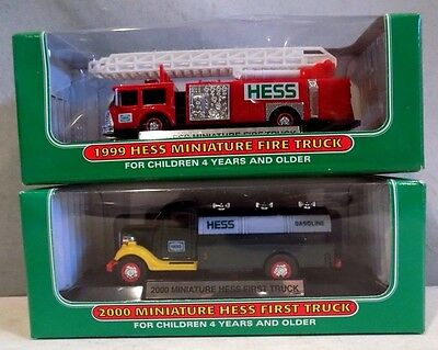 Lot Of 2 Hess Trucks - 1999 Miniature Fire Truck & 2000 Miniature First -- NEW
