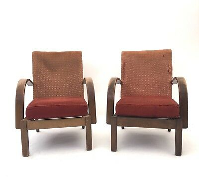 Pair of Vintage Mid Century CC41 Heals Oak Bentwood Halabala Style Armchairs