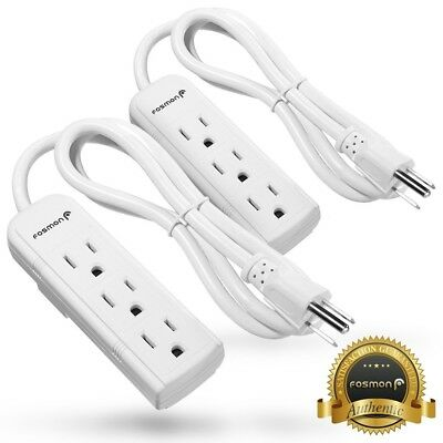 2xFosmon UL Listed 3FT Grounded 3 Outlet Plug 16 AWG Heavy Duty Power Strip Cord