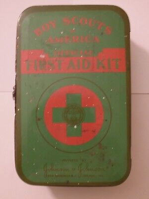 Vintage BSA Boy Scouts of America Official First Aid Kit With Metal Box