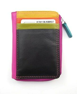 ILI Leather Credit Card ID Case Holder Zippered Coin Purse ~ Black Brights ~ New