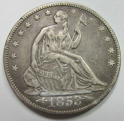 "1853 SEATED LIBERTY SILVER HALF DOLLAR VF+* VERY FINE DETAILS SMALL ""x"" BY ELBOW"