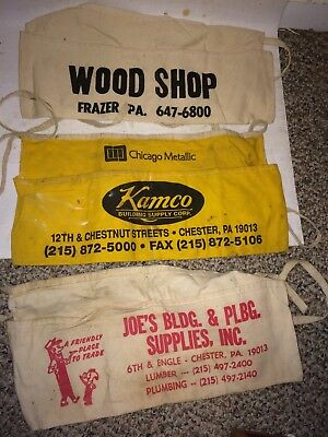 9 Vintage Canvas Waist Belt Tool Change Advertisement Roofer Organizers Aprons
