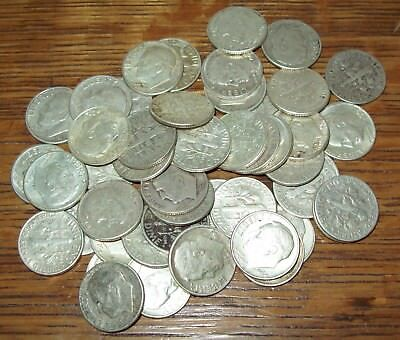 Roll of 50 Silver Roosevelt Dimes $5 Face Value 90% Silver Mixed Dates