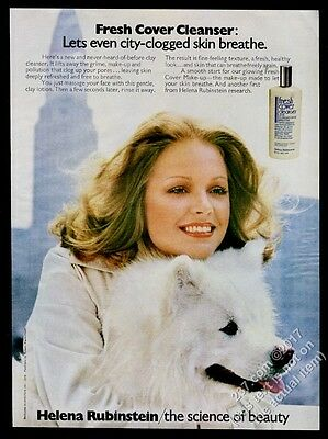 1974 Samoyed and woman photo Helena Rubinstein clay cleanser vintage print ad