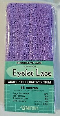 Uni-Trim Eyelet Lace Lilac 30Mm Wide X 15 Meters Purple Trim Hangers Pot Cosy