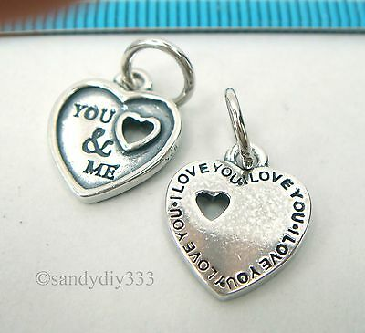 1x ANTIQUE STERLING SILVER DANGLE HEART YOU & ME CHARM PENDANT 11.8mm #2541