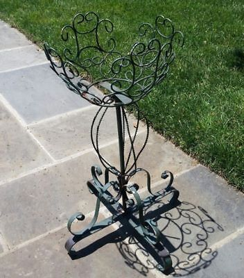 Antique Victorian Style Wrought Iron Planter Circa 1920 Plant Stand Wire Basket