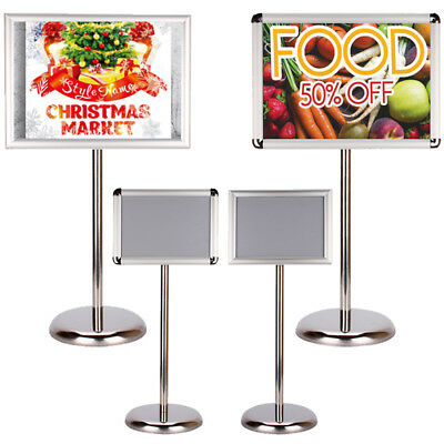 Adjustable A3/A4 Display Pedestal Sign Floor Holder Stand Poster Silver Metal US