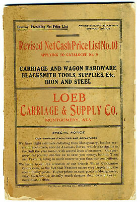 1906 Montgomery Alabama CARRIAGE WAGON BLACKSMITH, Loeb Carriage Supply CATALOG