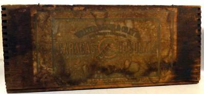 """Antique Walter Baker Chocolate Wood Shipping Box 9x6x4"""" w Orig Paper Label c1900"""