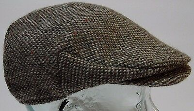 HANNA HATS WOOL DONEGAL IRELAND Tweed Plaid FLAT CAP Newsboy CABBIE Hat SIZE S