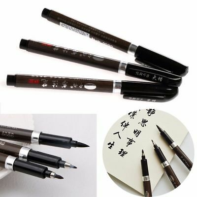 3Pc Black Chinese Pen Japanese Calligraphy Writing Art Script Painting Brush Set