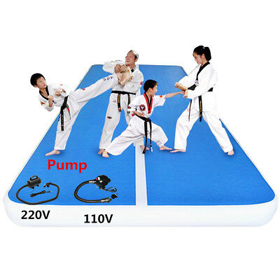 8M Inflatable Gym Mat Air Track Tumbling Floor Gymnastics Home Exercise Pad+Pump