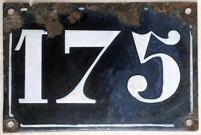 Large old black French house number 175 door gate plate plaque enamel metal sign