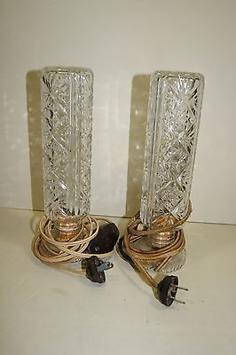 (2) 30's 40's Art Deco Boudoir Clear Pressed Glass Lamps