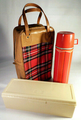 Vintage 1974 King Seeley Red Tartan Plaid Pinic Bag Lunchbox Thermos Container