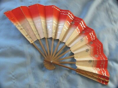 Japanese PAPER FAN Carved Bamboo WWII Souvenir w Provenance