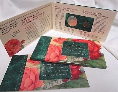 1997 Us Mint Botanic Gardens Coin & Currency Set With Matte Nickel