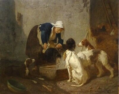 Fine Large 19th Century French Girl Feeding The Dogs Hounds Antique Oil Painting