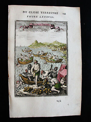 1683 MALLET - Original AMAZING rare VIEW of the FISHING of the PEARLS, OYSTERS..