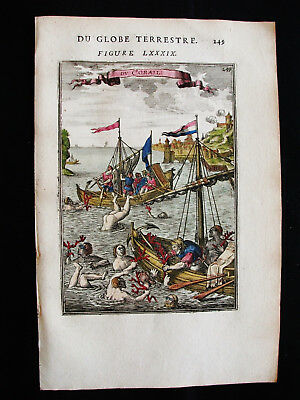 """1683 MALLET - Orig. AMAZING VIEW of the FISHING of the CORAL, """"CORALLIUM RUBRUM"""""""
