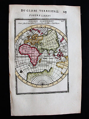 1683 MALLET - rare WORLD MAP, ANCIENT CONTINENT, EASTERN HEMISPHERE, EAST INDIES