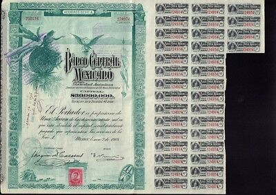 """MEXICO : BANCO CENTRAL MEXICANO """"BLUEBERRY"""" 1908  uncancelled dividend  coupons"""