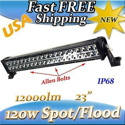 """120W 22"""",24"""" inch LED Driving Light Flood Spot Offroad SUV ATV Jeep 4WD Camping"""