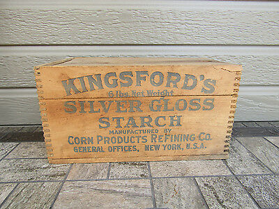 Vintage Old Wood Kingsford's Silver Gloss Starch Corn Products Dove Tail Box LID
