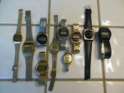 Lot Of 10 Vintage Digital Lcd And Led Watches - Texas Instruments, Nec, Mercury
