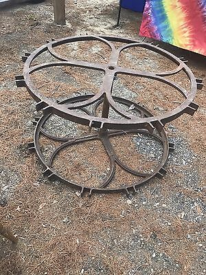 Vintage Rare Big Industrial Cast Iron Wheels Rare Clover Pattern