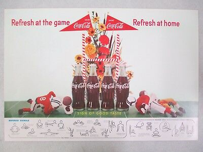 """1958 Coca Cola Football Referee Signal Double Sided Advertisement Poster 15 1/2"""""""