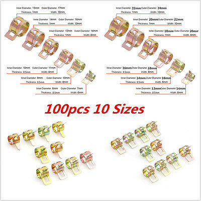 100Pcs  6-22mm Car Spring Clip Oil Tube Clamp Water Hose Pipe Fastener Clips New