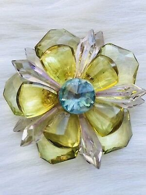 Vintage  Large Multicolor Clear Plastic(Lucite?) Flower Pin Brooch Mid Mod
