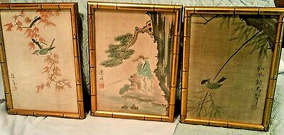 3 Vintage Chinese Paintings On Linen-Framed & Signed Chinese Art