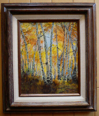 F. Bishop, Birch Tree Trees Landscape Impressionist Nature Sun Forest Luminous