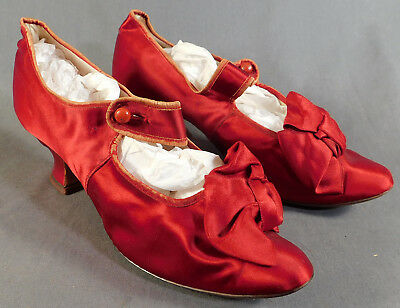 Victorian Vintage B. Rich & Sons Red Silk Button Strap Evening Shoes Slippers